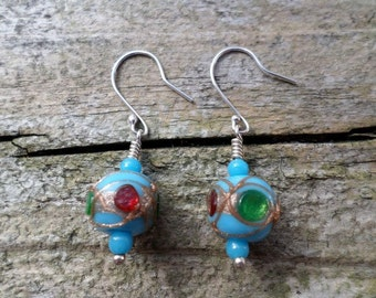 Blue Lampwork With Red, Green And Gold Details On Sterling Silver Earrings