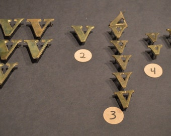 Vintage Solid Brass and Nickel Harness Letters - V