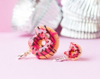 Donut Charm with Bite, Strawberry + Chocolate Icing with Chocolate Sprinkles