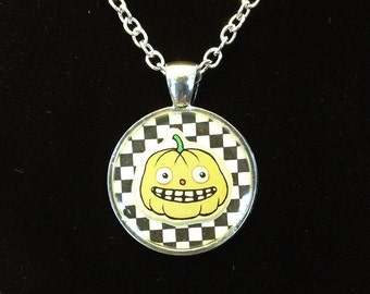 Black and White Check Cute Jack O' Lantern Halloween Resin Pendant, Silver Color.