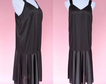 20s Inspired, Black Slip Dress // 70s Vintage Dress, Drop Waist, 1920s Costume, 1970s Cocktail Dress, Women's Size Large