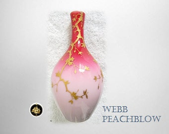 Webb peachblow vase with cased glass and gold decorations