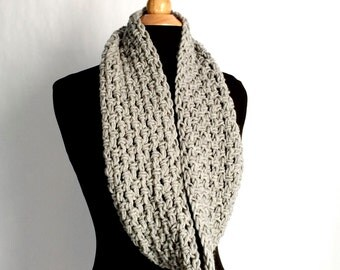 Womens Gray Knit Infinity Scarf, Chunky Wool Infinity Cowl Scarf, Lightweight Winter Accessories - Wife Gift, Daughter Gift