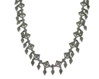 "Vintage Design 5.85ct Single Cut Diamonds 14K Gold, 0.925 Sterling Silver Set Necklace, Dangle Earrings  - ""CUSTOM MADE"""