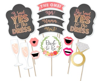 Printable Say Yes to the Dress Photo Booth Props - Dress Shopping Photobooth Props -  Dress Shopping Signs - Dress Hunt - Bridesmaid Dresses