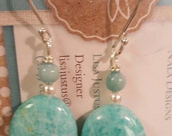 Amazonite Sterling Silver Dangle Earrings