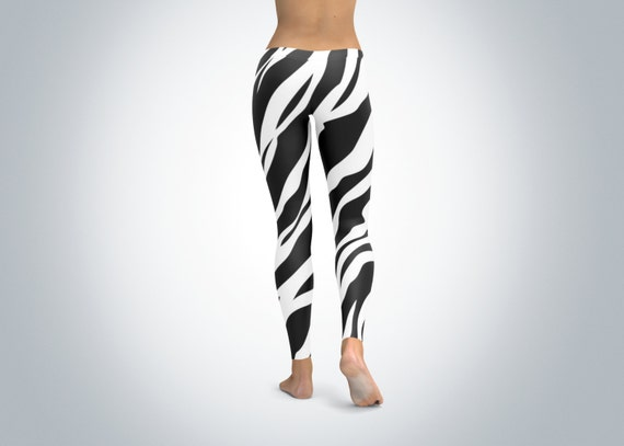zebra striped leggings tights yoga pants stretchy printed. Black Bedroom Furniture Sets. Home Design Ideas