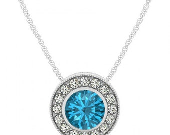7mm Blue Topaz & Diamond Halo Pendant Necklace - Jewelry - Designer - Designs - For Women - For Her - Mother's Day Gifts - Gift Ideas