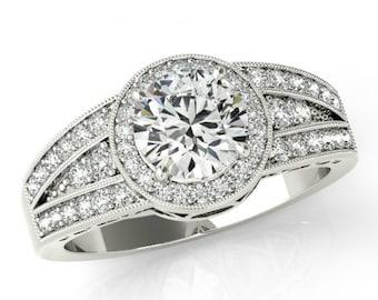1 Carat Forever One Moissanite & Diamond Halo Three Row Engagement Ring - Moissanite Engagement Rings for Women - Moissanite Rings 14k Gold