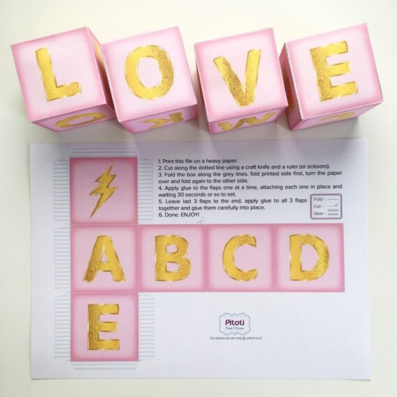 Letter From Baby To Baby Shower Guests: Baby Shower Centerpiece Block Printable Pink And Gold Baby