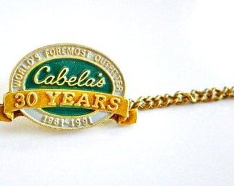 Cabelas, Vintage Pins, 30 Years, Tie Pin, Tie Tack, Vintage Tie Clip, Tie Tack, Tie Tac, Tie Tack Pins, Tie Tacks for Men, Advertising