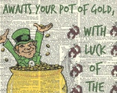 Saint Patrick's Day Poem Art w/ Leprechaun Luck & Gold on Vintage Dictionary Page 8.5 x 11 St. Patty's Day Wall Decor, No. 3