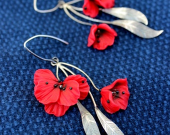 Mother's Day Gift - 925 Silver Handmade floral jewelry - Polymer clay Red Poppy flowers earrings