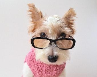 "Dog clothes ""Aran pattern"" Knit fabrics -Strawberry-"