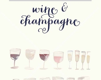 Watercolor red and white wine glasses and champagne glass clipart