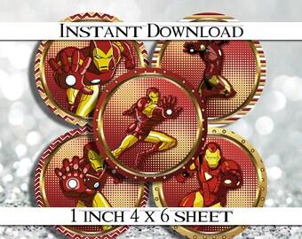 "INSTANT DOWNLOAD Iron Man Superhero 4x6 Digital 1"" Inch Bottle Cap Image/Digital Collage sheet"