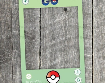 Pokemon Go Frame, Party Photo Booth Prop with Pokeballs, Pokestop, Pikachu, DIY Cut Out, App, Printable with Custom Username (Digital File)