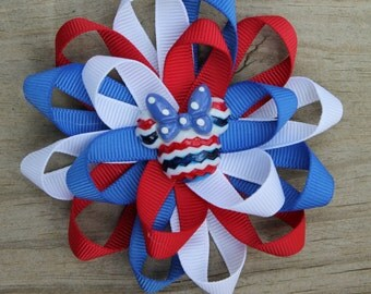 Minnie Mouse hair bow, Minnie bow, Memorial Day bow, Memorial hair bow, Fourth of July hair bow, Fourth of July bow, Disney bow