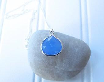 Blue Chalcedony in Sterling Silver bezel on Sterling Silver Chain Necklace, Blue Chalcedony Necklace, Blue Chalcedony Pendant