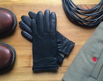 Black leather gloves / womens gloves