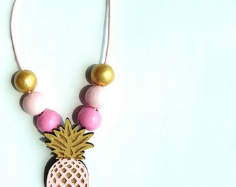big Pink PINEAPPLE necklace - fruity tropical fruit necklace
