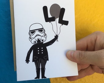 Birthday Card - Funny Birthday Card - Happy Birthday Card -Star Wars Birthday Card - stormtrooper -Star Wars Card -just because - friendship