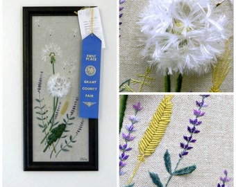 Dandelions and Lavender Stumpwork Art Embroidery Bouquet of Wild Meadow Flowers Original Brazilian Hand Embroidery on Linen 3D Effect OOAK