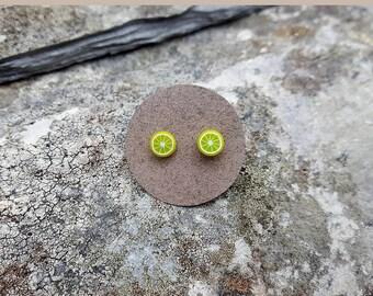 Lime fruit ear studs, sterling silver, fruit post earrings, fruit stud earrings, lemon, tiny, kawaii, fun