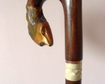 Fox cane, walking stick, hiking, hand carved