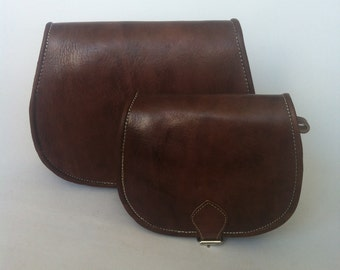 Moroccan Handcrafted Chocolate Brown leather Saddle Bag, cross-body messenger bag