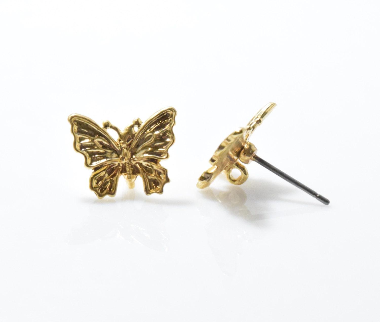 butterfly post earring earring component 925 sterling