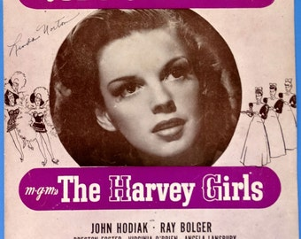 """On The Atchison, Topeka And The Santa Fe, vintage sheet music, Judy Garland photo cover MGM """"The Harvey Girls""""  1945 with Guitar Chords"""
