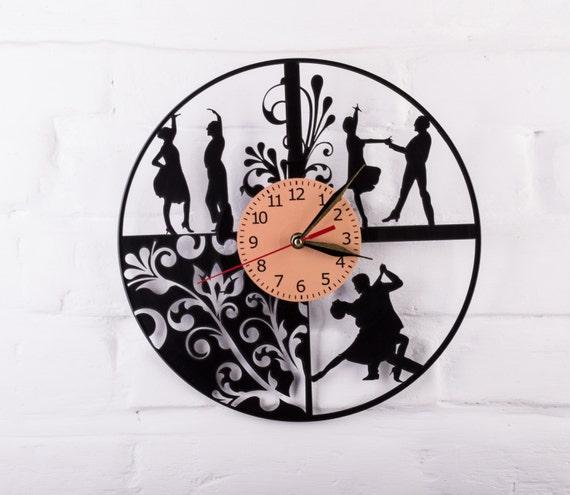 Gift for dancer, Flamenco, wall decor Dancer silhouette figurine Dance tango dress skirt salsa dance vinyl clock birthday gifts for her