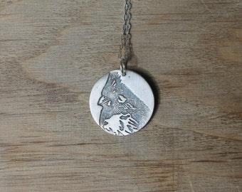 Cardinal - Bird fine silver pendant