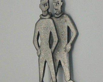 Vintage Figural Metzke signed Silver Tone Two Teen boys brooch