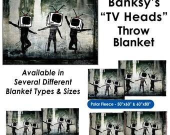 Banksy, TV Heads - Throw Blanket