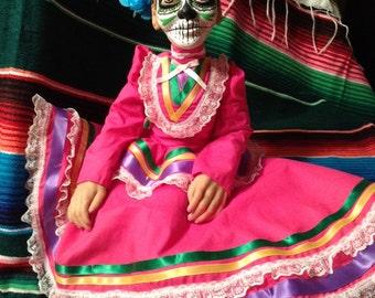 Handmade 22 Inch Dia de los Muertos Doll- Juliana