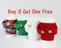 Christmas travel mug sweater. Set of four. Buy three get one free. Secret Santa gift. Stockingfiller. Coworkers gift idea
