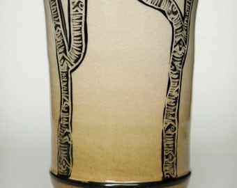 Handmade Tumbler Cup with Birch Trees