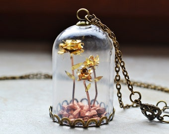 SALE! Steampunk Rose Garden Glass Dome Necklace