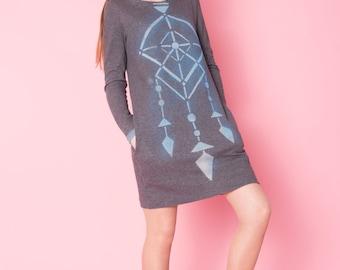 Dress/Jersey dress/simple dress/Cotton dress//Grey dress/Casual dress/Soft dress/ long sleeves dress