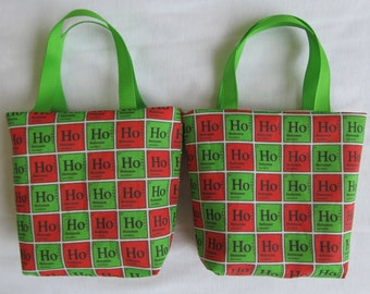 Set of 2 Science Christmas Fabric Gift Bags/ Party Favor Bags/ Goody Bags- Ho Ho Ho Holmium
