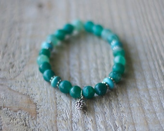 Bracelet of semiprecious stones, gems for woman - Agate frosted / matte turquoise - Cocotte/pinecone - Silver gift