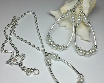 Bridal Jewellery Set, White Glass Pearl Jewellery Set, Silver Handmade Costume Jewellery, Wedding Jewellery Set, Rhinestone Jewellery
