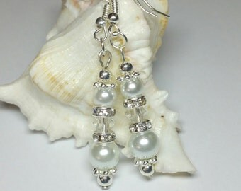 20% DISCOUNT SALE, Brides White Pearl Crystal Earrings, Rhinestone Earrings, Silver Handmade Costume Jewellery, Wedding Jewellery