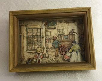 70s Anton Pieck 3-D Diorama Shadow Box Decoupage  - Victorian Street Scene - Collectible Paper Art - Holland