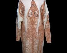 Krizia Maglia iconic animal dress, fox stole print, ultra soft wool & angora rabbit sweater knit day / evening dress, loose fit, long sleeve