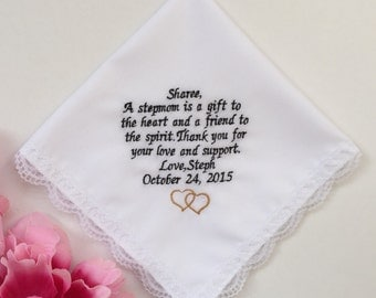 Embroidered Wedding Handkerchief For Stepmother/ Personalized Stepmother Gift Hankie/ Wedding Gift With Love Design/ Gold Heart