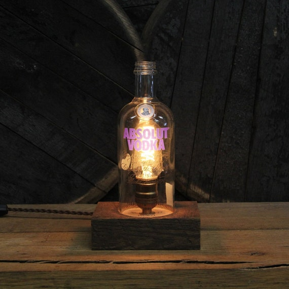 Absolut Vodka Bottle Desk Lamp - Features Reclaimed Wood Base, Edison Bulb, Twisted Cloth Wire, In line Switch, And Plug, Upcycled Light