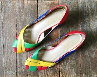 Vintage Rainbow ROYGB Peep Toe Woven Summer Stacked Heel Wedge Summer Sandals 7 M